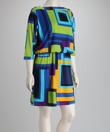 Blue Geometric Plus-Size Three-Quarter Sleeve Dress