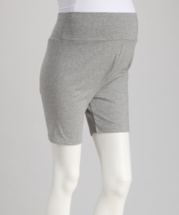 Gray Over-Belly Maternity Shorts