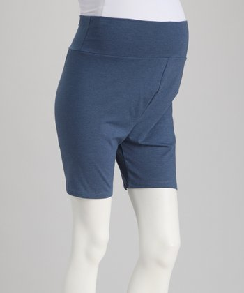 Denim Blue Over-Belly Maternity Shorts