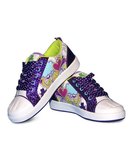 Purple Polka Dot Heart Paintable Sneakers