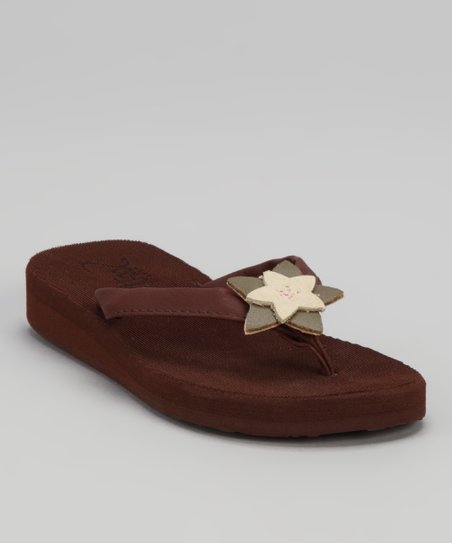 Brown Blossom Mahina Wedge Flip-Flop - Kids