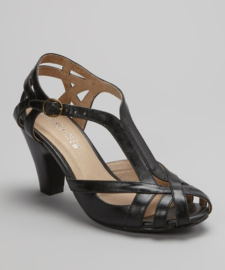 Black Carla Peep-Toe Shoe
