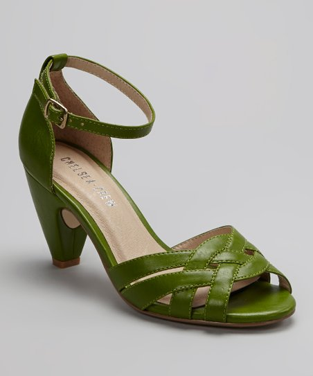 Green Nirvana Ankle-Strap Peep-Toe Shoe