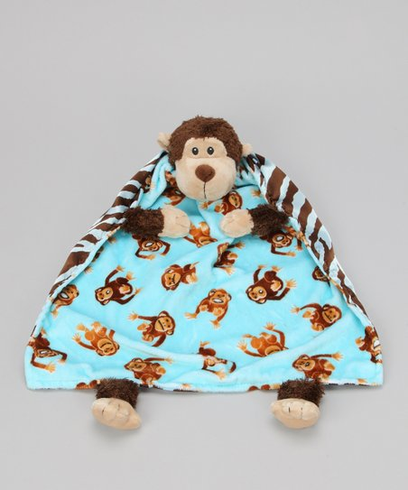 Aqua Monkey Blanket Critter