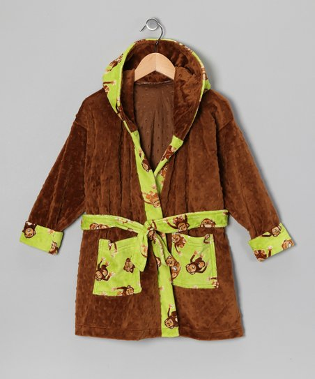 Caramel & Green Monkey Robe - Toddler & Boys