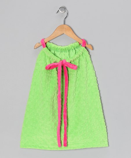 Green & Pink Drawstring Shift Dress - Toddler & Girls