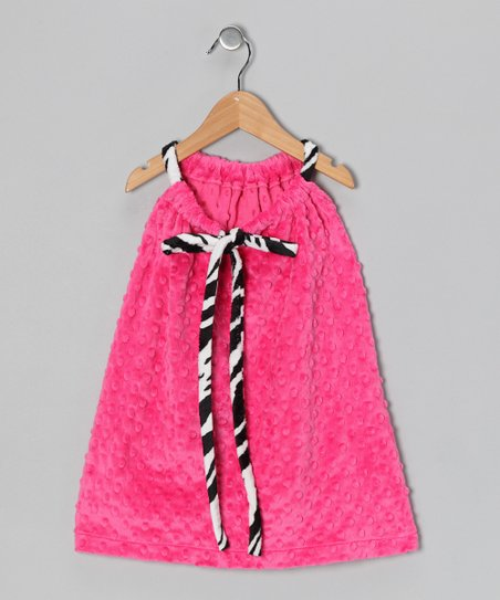 Pink & Zebra Drawstring Shift Dress - Toddler & Girls