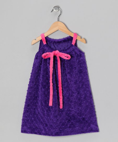 Purple & Pink Drawstring Shift Dress - Toddler & Girls