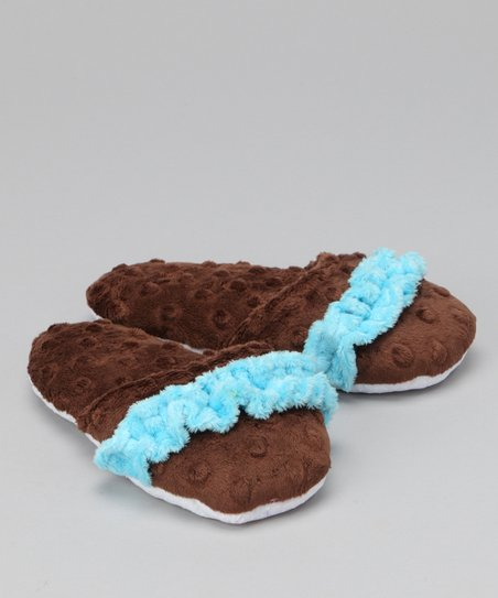 Brown & Turquoise Ruffle Slipper