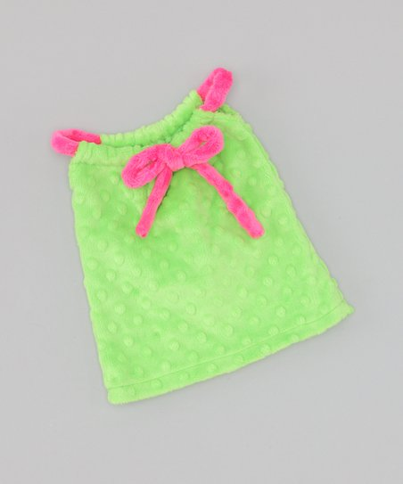Green & Pink Drawstring Doll Dress