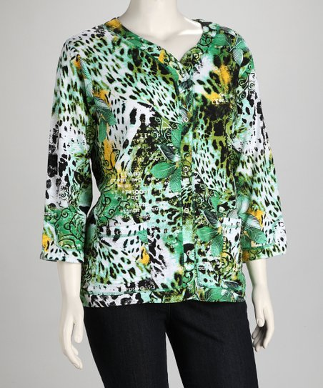 Thomas and Olivia Green & Yellow Leopard Plus-Size Cardigan