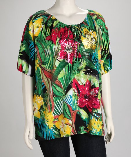 Thomas & Olivia Green Jungle Fever Plus-Size Top