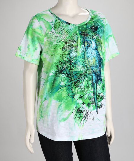 Thomas & Olivia Green & Blue Parrot Top