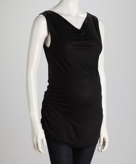 Black Side-Tie Maternity Tank