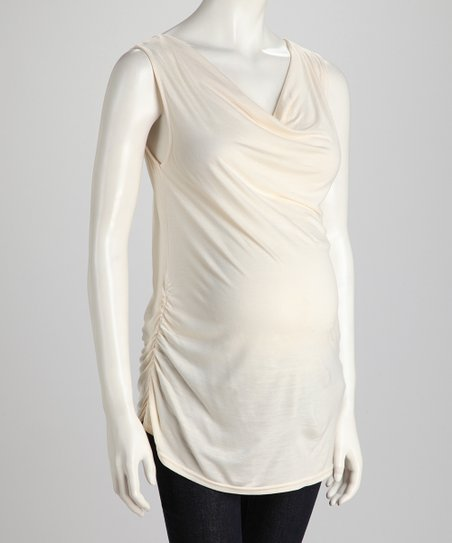 Linen White Side-Tie Maternity Tank