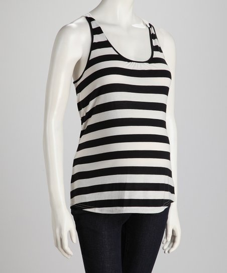 Black & Off-White Stripe Crochet-Back Maternity Tank