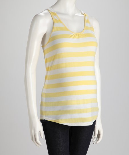 Corn & Off-White Stripe Crochet-Back Maternity Tank