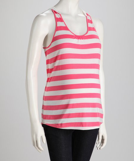 Pink Flush &amp; Off-White Stripe Crochet-Back Maternity Tank