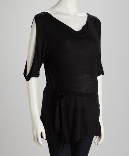 Black Cutout Maternity Tunic