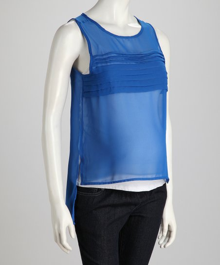 Olympian Blue Ruffle High-Neck Maternity Tank