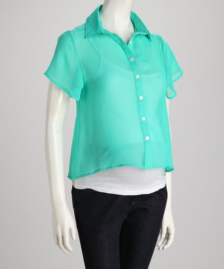 Apple Green Sheer Maternity Button-Up