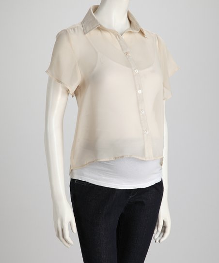 Linen Sheer Maternity Button-Up