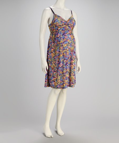 Blue Floral Maternity Dress - Women
