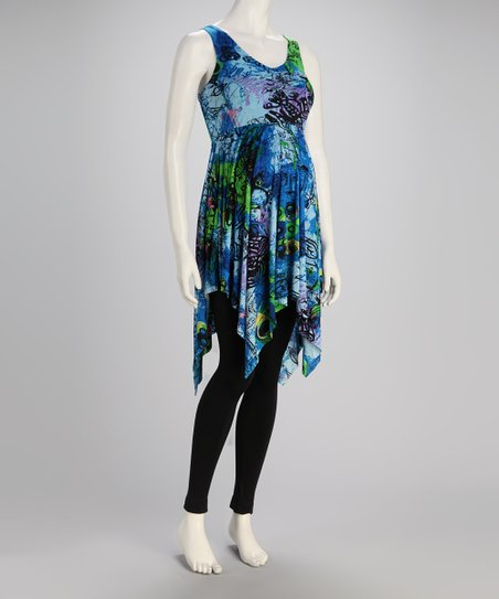 Blue Batik Maternity Handkerchief Tunic