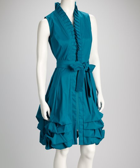 Teal Tiered Ruffle Tie-Waist Sleeveless Dress