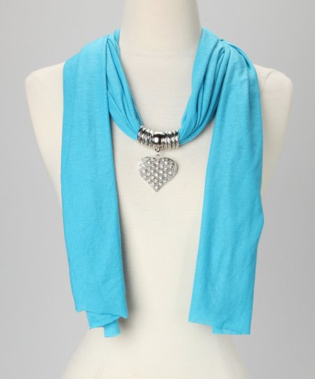 Blue Heart Pendant Scarf