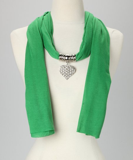 Green Heart Pendant Scarf