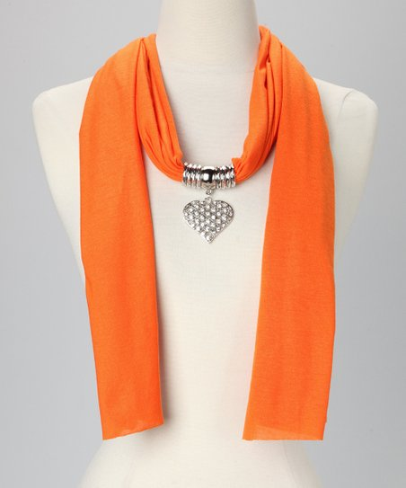 Orange Heart Pendant Scarf