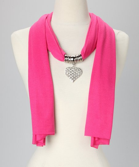 Pink Heart Pendant Scarf