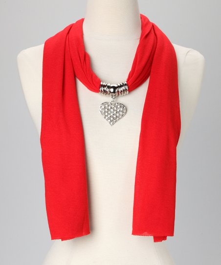 Red Heart Pendant Scarf