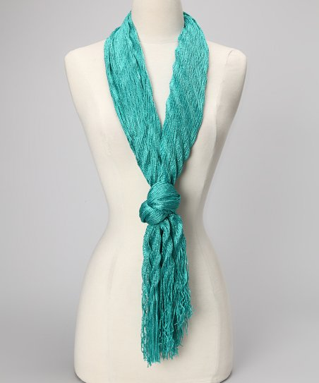 Green Shimmer Chevron Scarf