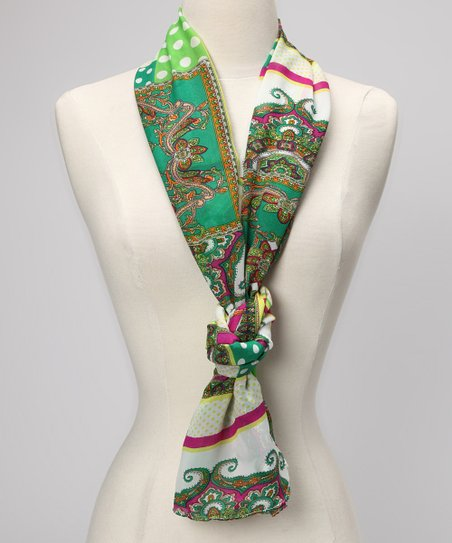 Green Paisley Panel Scarf