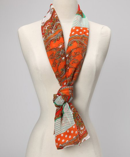 Orange Paisley Panel Scarf