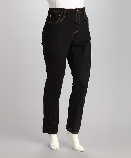 Black Studded Plus-Size Pants