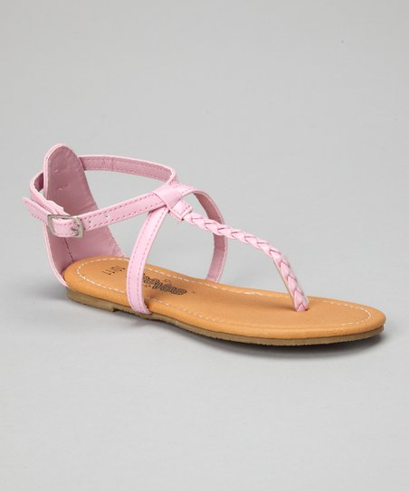 Light Pink Patent Crisscross Braid Sandal