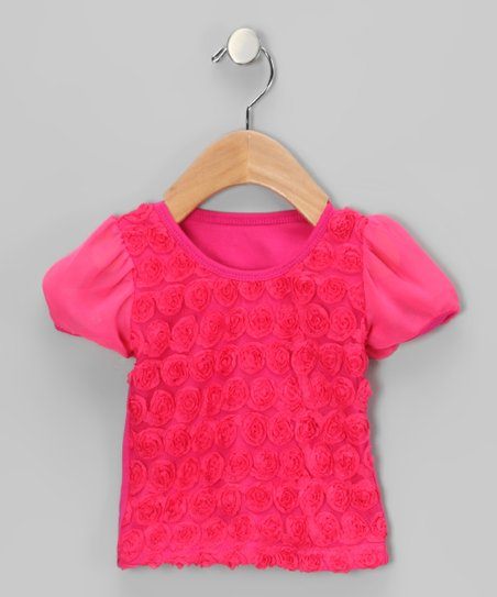 Hot Pink Rosette Tee - Infant, Toddler & Girls
