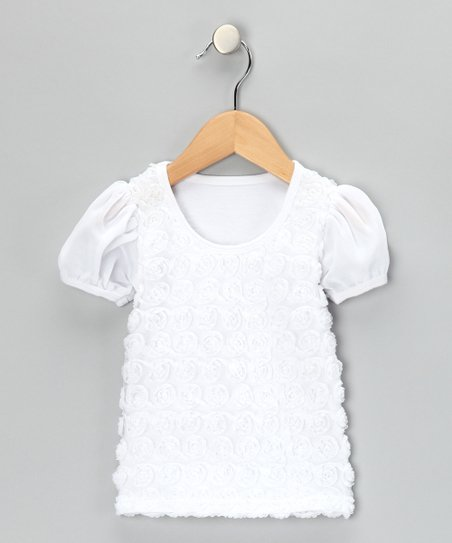 White Rosette Tee - Infant, Toddler & Girls