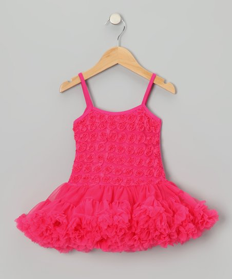 Hot Pink Rosette Ruffle Pettidress - Toddler & Girls