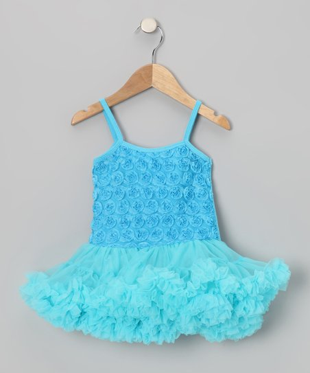 Turquoise Rosette Ruffle Pettidress - Toddler & Girls