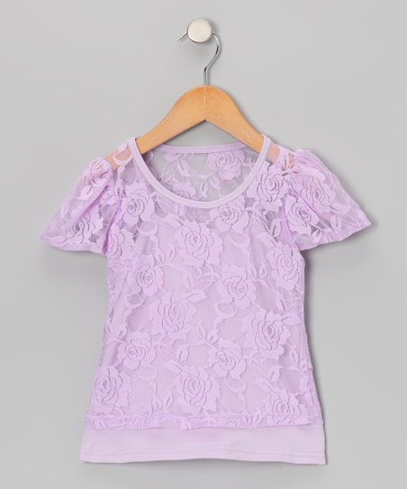 Lavender Camisole & Lace Short-Sleeve Tee - Toddler & Girls
