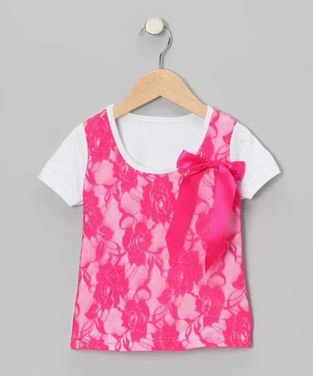 Hot Pink Lace Layered Tee - Toddler & Girls