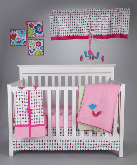 Pink Botanical Crib Bedding Set
