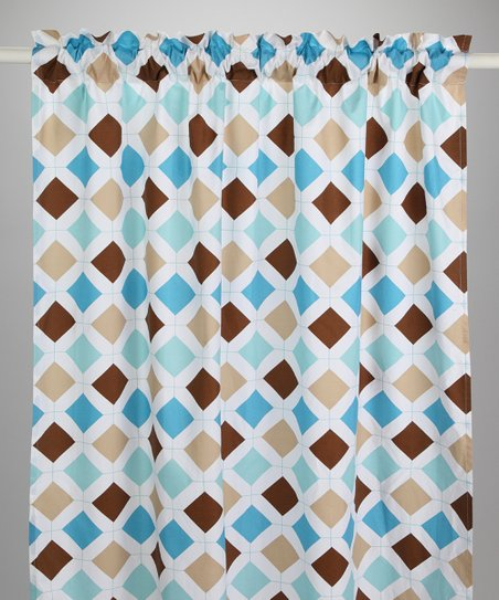 Aqua & Chocolate Diamond & Stripe Curtain Panel