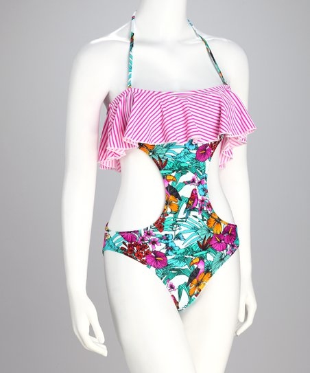 Pink Parrot Jungle South Beach Monokini