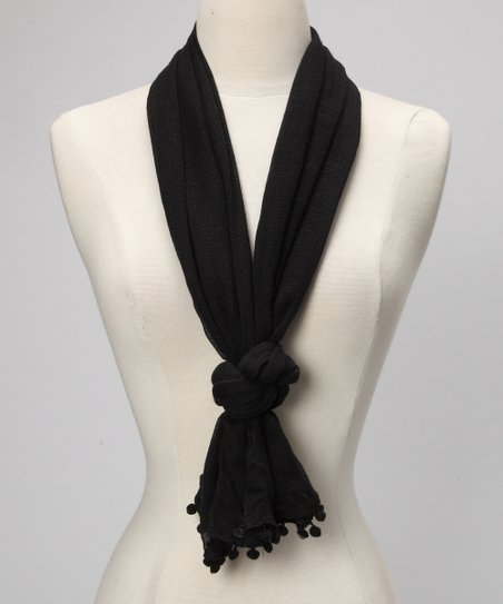 Black Pom-Pom Scarf