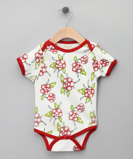 White Floral Organic Bodysuit - Infant